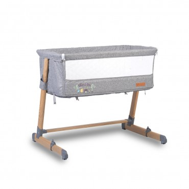 Cangaroo Βaby Bassinet Shared Love Grey with wood print