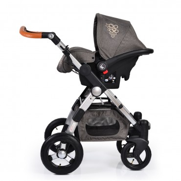 Cangaroo Luxor Black 3 in 1 reversible combined baby stroller with Car seat