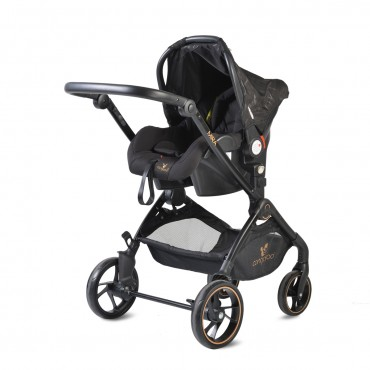 Cangaroo Baby Stroller 3 in 1 with carrycot and car seat ,Mira Black