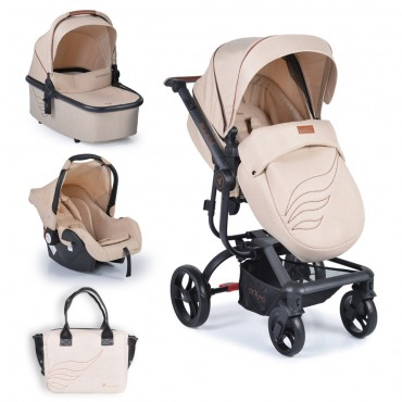 Cangaroo Baby Stroller 3 in 1 with carrycot and car seat ,Ellada Beige