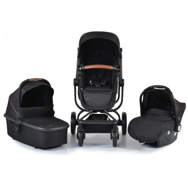 Cangaroo Baby Stroller 3 in 1 with carrycot and car seat ,Ellada Black