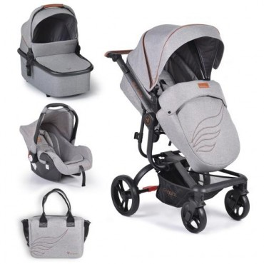 Cangaroo Baby Stroller 3 in 1 with carrycot and car seat ,Ellada Grey