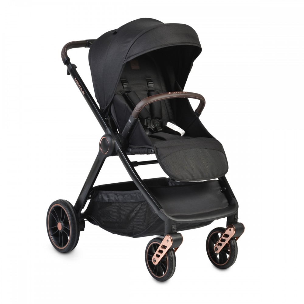 Cangaroo Baby Stroller 3 in 1 with carrycot and car seat ,Macan Black