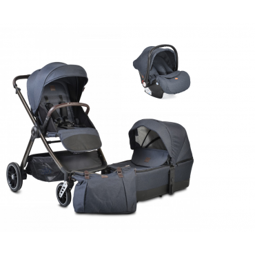 Cangaroo Baby Stroller 3 in 1 with carrycot and car seat ,Macan Denim