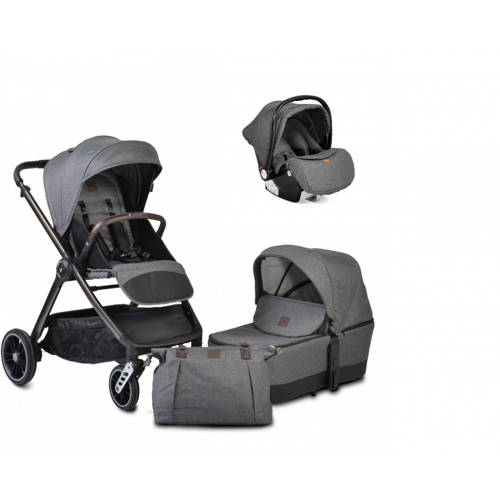 Cangaroo Baby Stroller 3 in 1 with carrycot and car seat ,Macan Grey