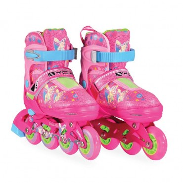 BYOX Adjustable Roller Skates In-Line M 34-37 Mask Pink