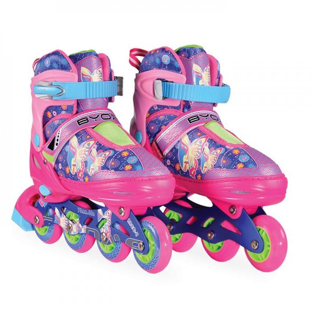 BYOX Adjustable Roller Skates In-Line L  38-41 Mask Purple