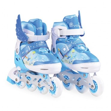 BYOX adjustable Roller Skates , with set of helmet and protectors , In Line M 34-37 Ponny 2 in 1 Blue
