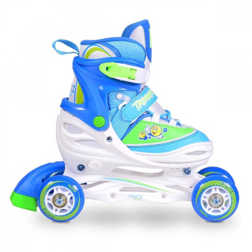 Moni Adjustable Roller Skates In Line M 34-37 Triskate 3in1 Blue