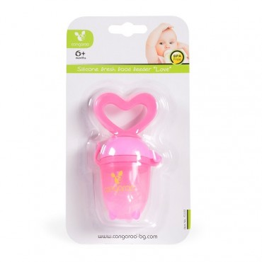 Cangaroo Silicone Fresh Food Feeder Love Pink ,F1333