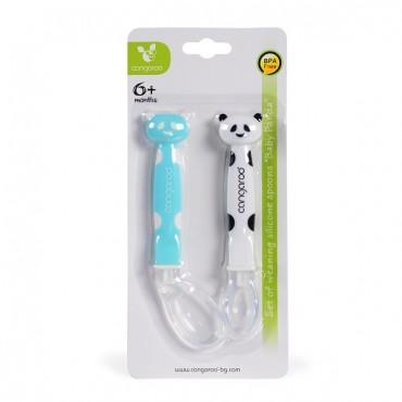 Cangaroo Set of silicone spoons Baby Panda Blue- F1607