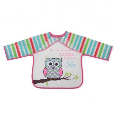 Cangaroo Baby Bib with sleeve Messy Pink 1008