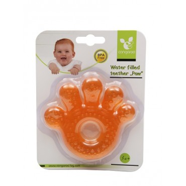 Cangaroo Water filled teether Paw  Orange ,T1205