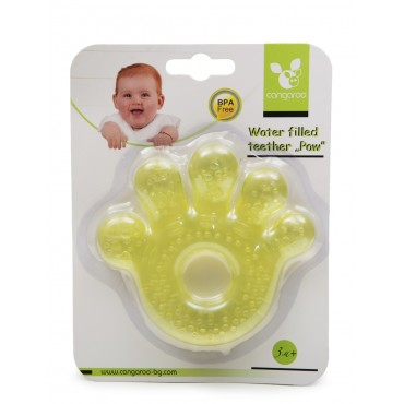 Cangaroo Water filled teether Paw  Yellow ,T1205