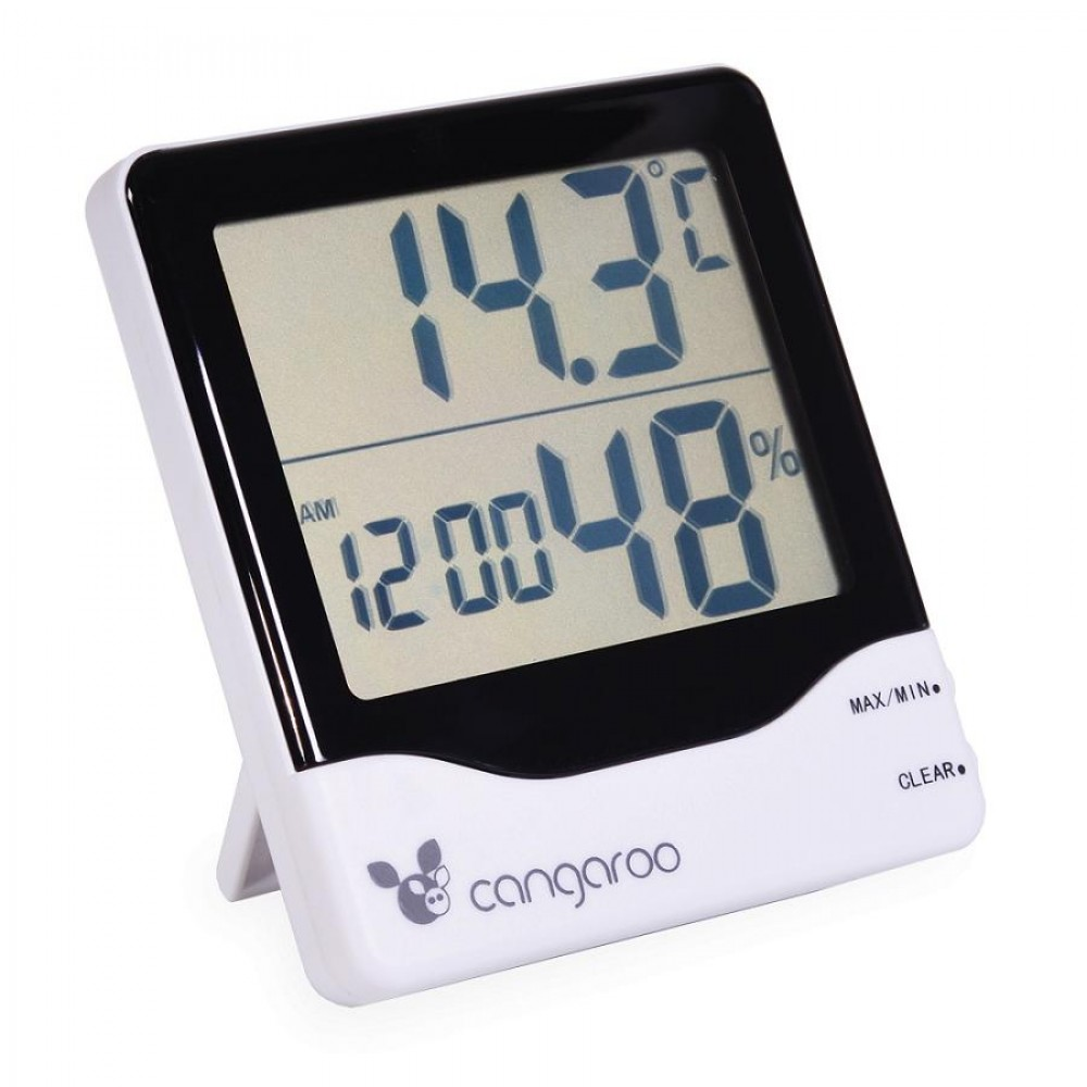 Cangaroo 3 in 1 Thermometer with digital clock and hygrometer, TL8020