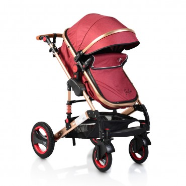 Moni reversible combined baby stroller 2 in1 Gala Red Leather