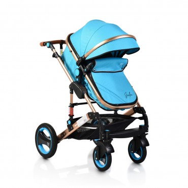 Moni reversible combined baby stroller 2 in1 Gala Turquoise Leather