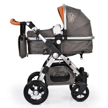 Cangaroo Luxor  2 in1 Grey reversible combined baby stroller with Car Seat