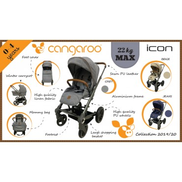 Cangaroo Baby Stroller with carrycot ,Icon Beige