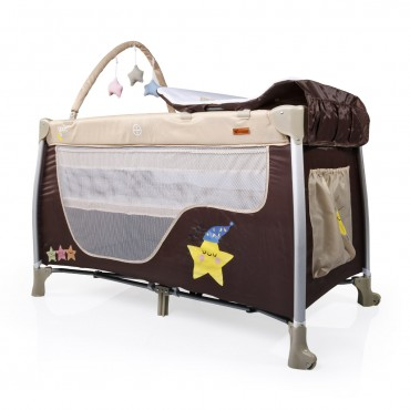 Cangaroo Playpen 2 Levels Good Night Brown