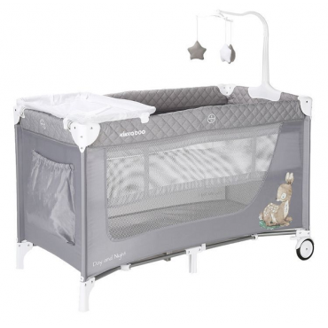 Kikkaboo play yard 2 Layer Day & Night Gray Deer, 31003010045