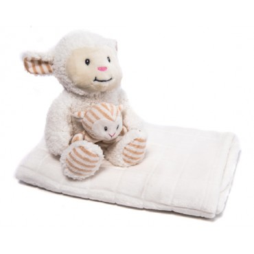 Kikkaboo Baby Blanket Set with plush toy and soft blanket 76 x 114 cm Sheep, Ivory
