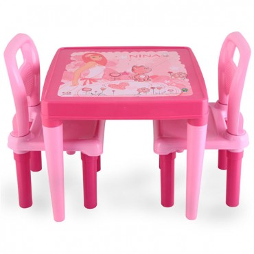 Pilsan children's Table with 2 chairs Pink - 03414